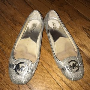 Michael kors sparkly silver flats 9.5